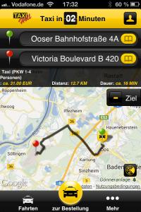 Mit der Taxi-Holl Smartphone App kann bequem ein Taxi bestellt oder ein Fahrpreis kalkuliert werden