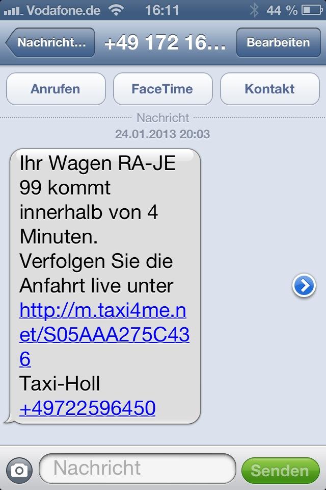 SMS-Taxi-Auftragsbestätigung